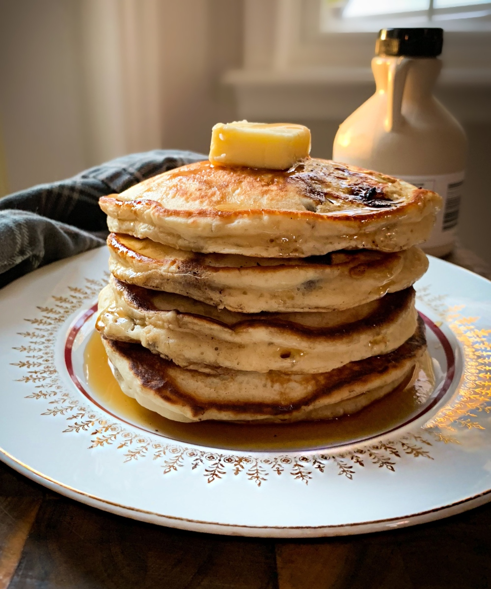 Classic Banana Chocolate Chip Pancakes