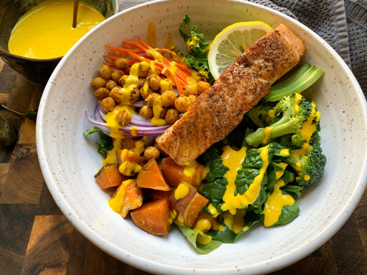 Seared Salmon over Vegetables with Tahini and Turmeric Dressing