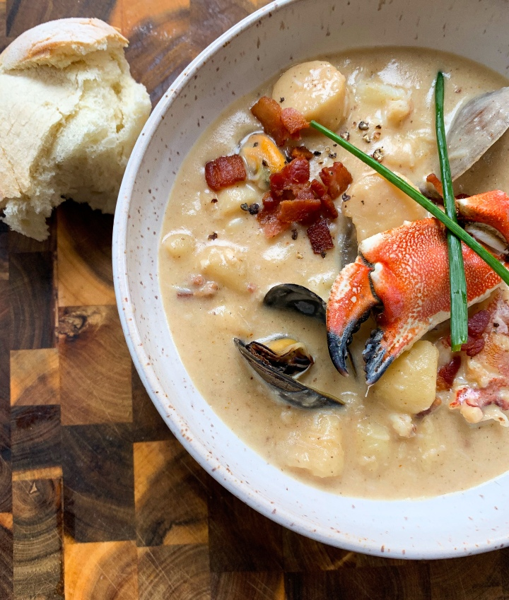 Rustic Crab Chowder with Crab Claw & Chive Garnish
