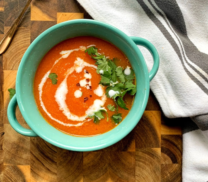 Carrot and Ginger Soup with Cilantro and Coconut Milk