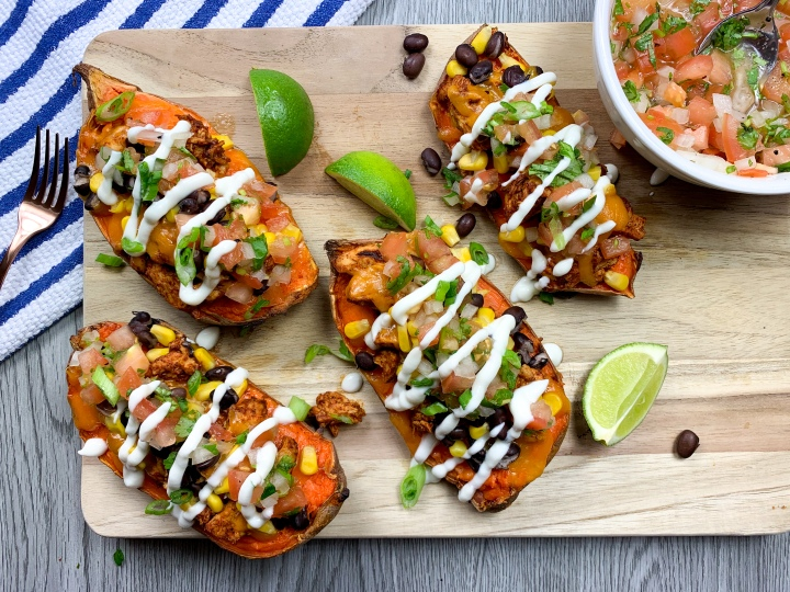 Healthy Loaded Sweet Potatoes